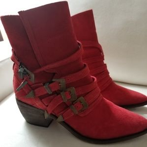 Jeffrey Campbell for Free People red suede booties